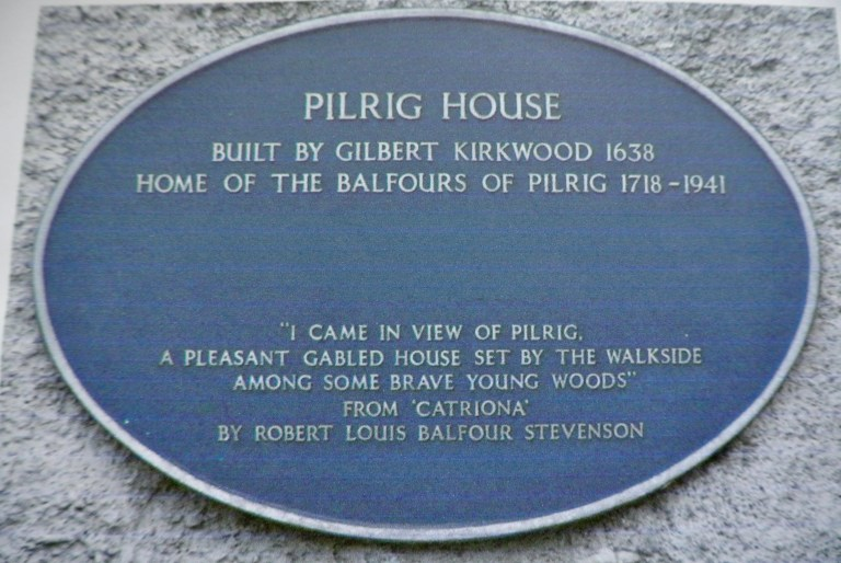 The plaque on the outside of Pilrig House.
