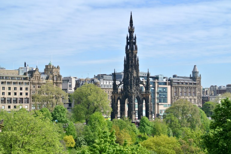 The Scott Monument with the buildings of New Town behind it.