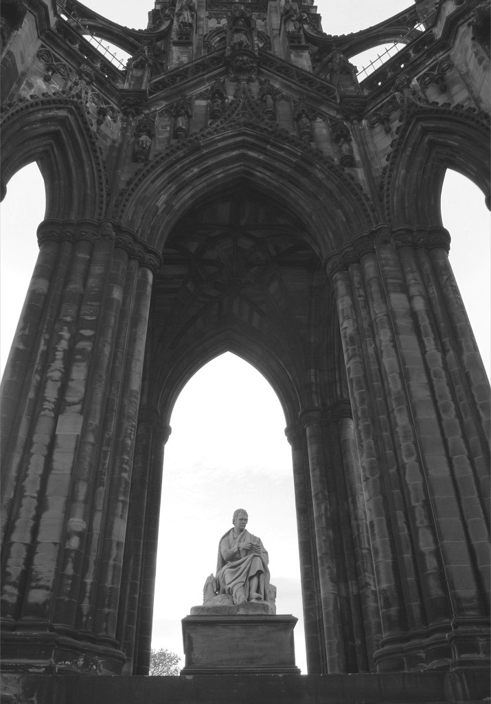 Scott Monument in black and white.