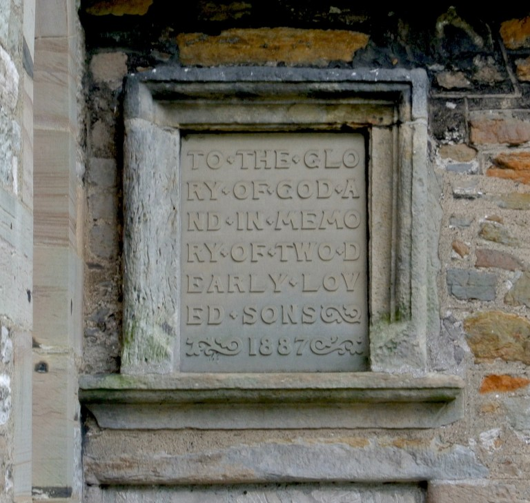 Plaque on the outside of Aberlady Parish Church.