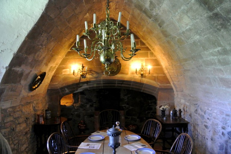 Dining area inside Lindisfarne Castle.