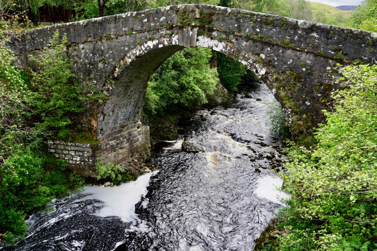 The White Bridge over the River Fechlin in Scotland.