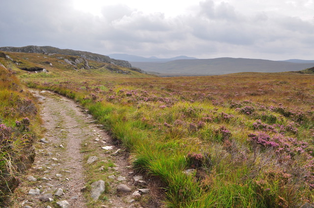 Rocky dirt road in the Scottish countryside.