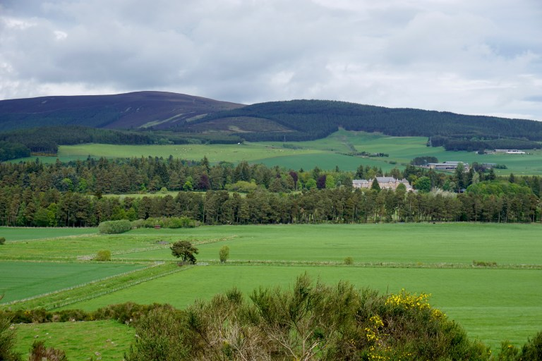 The green Scottish countryside.