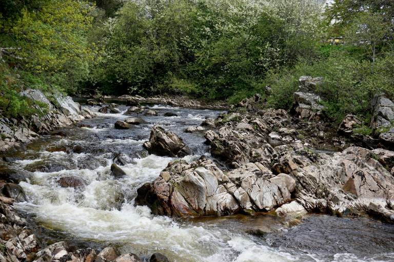 River Dulnain flowing over rocks.