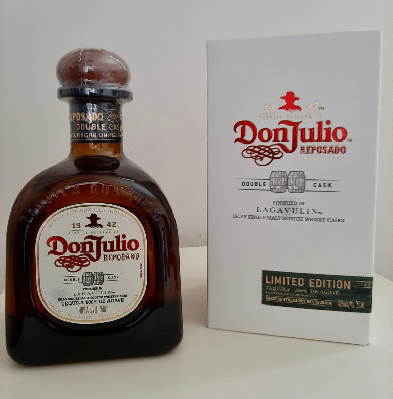A bottle of a limited edition of Don Julio tequila that was aged in a cask that previously held Lagavulin whisky.