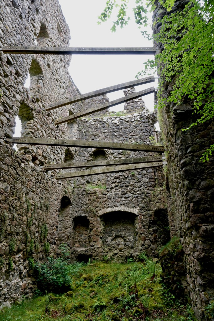 A ruined interior view of Invergarry Castle.
