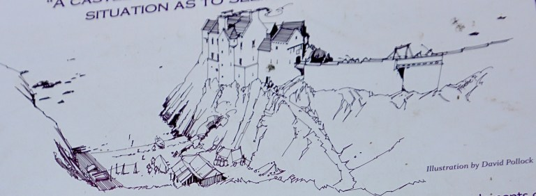 An artist's rendition of how Findlater Castle might have looked in its day.