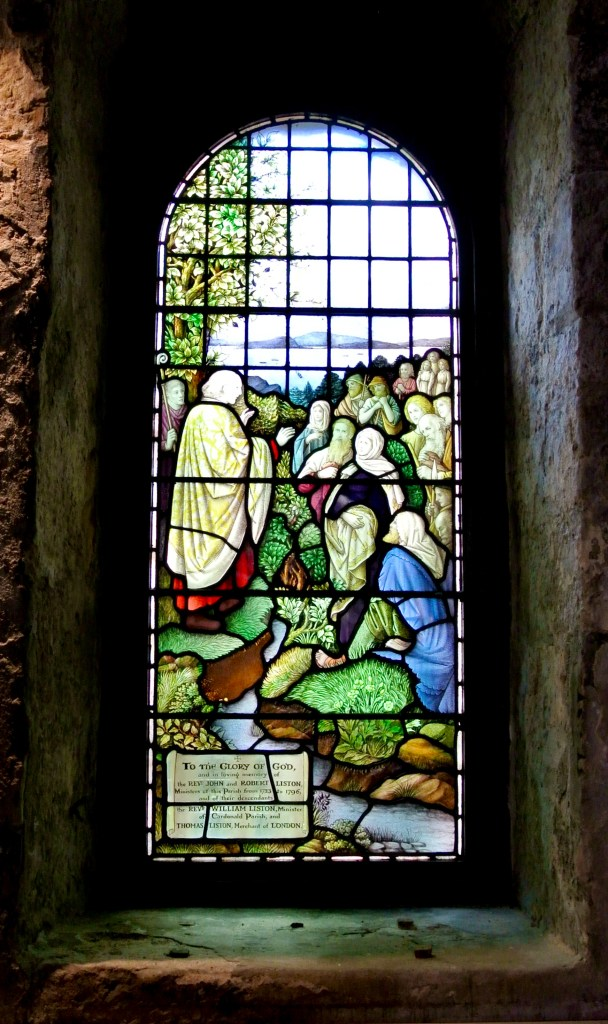 A stained glass window at St. Fillans Church in Scotland.