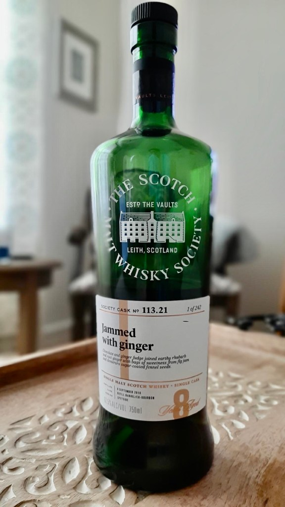 A bottle of whisky from the Scotch Malt Whisky Society called Jammed With Ginger.