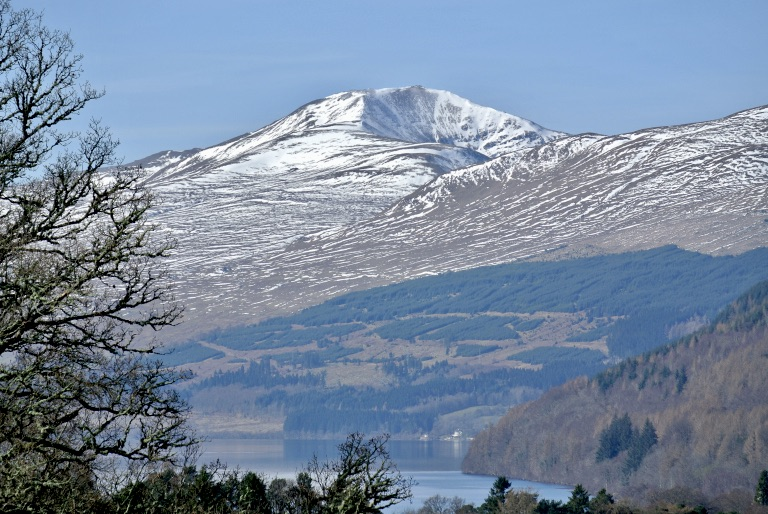 Snow capped hills around Loch Tay.