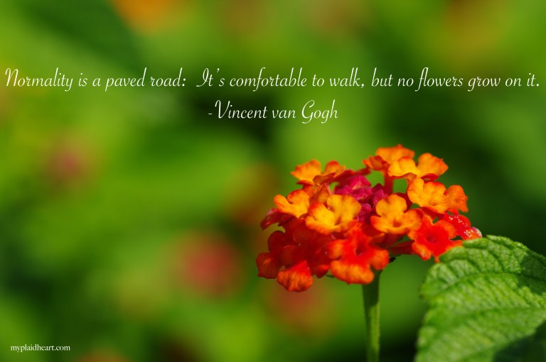 Normality is a paved road:  It's comfortable to walk, but no flowers grow on it - words of encouragement by Vincent van Gogh.
