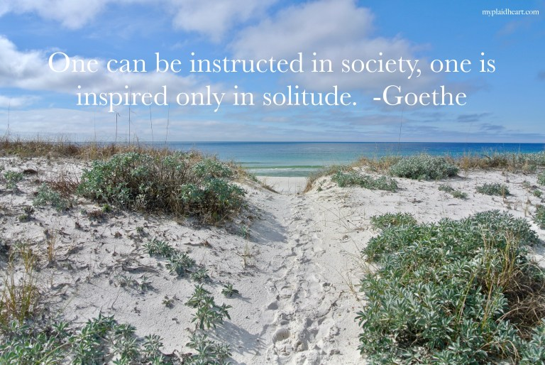 One can be instructed in society, one is inspired only in solitude.  Goethe