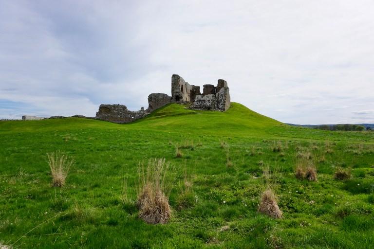Duffus Castle sitting on an earthen mound