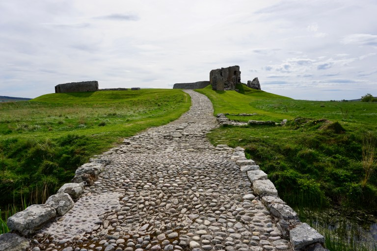 A stone road leading to Duffus Castle