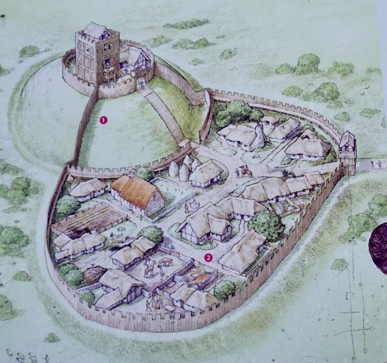 An artist's drawing of Duffus Castle
