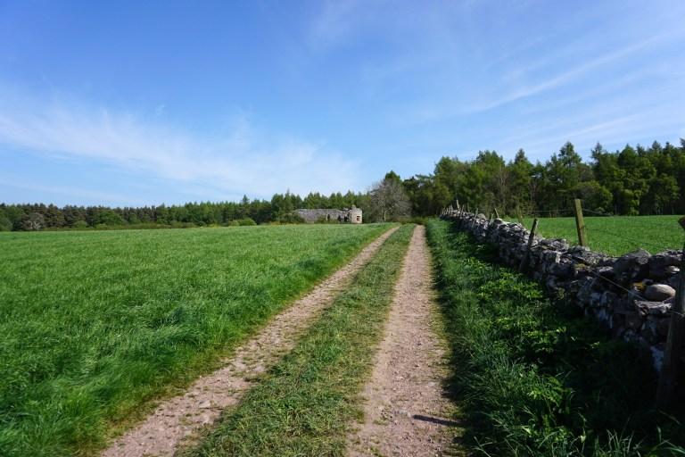A dirt road leading to Rait Castle.