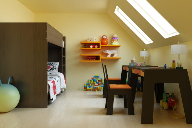 Childrens bedroom in a loft conversion