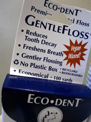Eco-Dent dental floss in a cardboard box