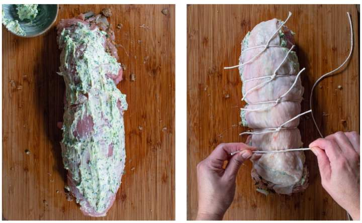 Diptych showing how to tie a rolled turkey breast