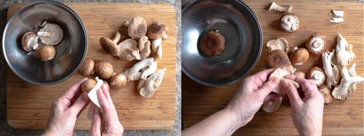 two photos showing hot to wash and stem mushrooms