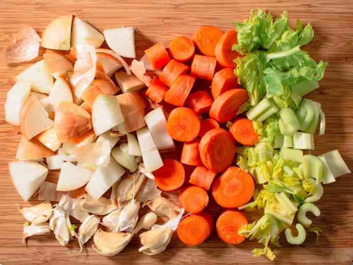 Rough chopped carrots, celery, onion and garlic for chicken stock
