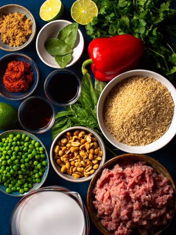 all the unprepared ingredients for making thai meatballs