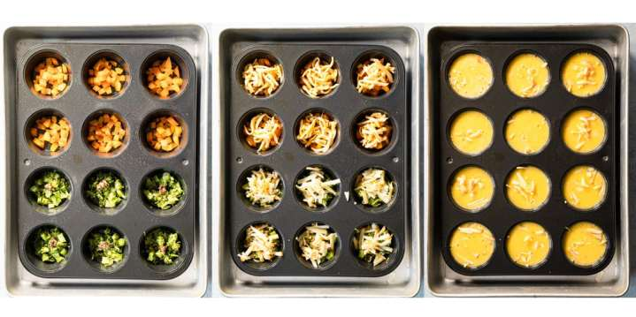 Triptych of assembling ingredients of egg bites in 12 cup muffin tin. First vegetables, then cheese, then egg mixture