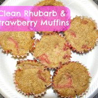 Clean Rhubarb Strawberry Muffins {Recipe}