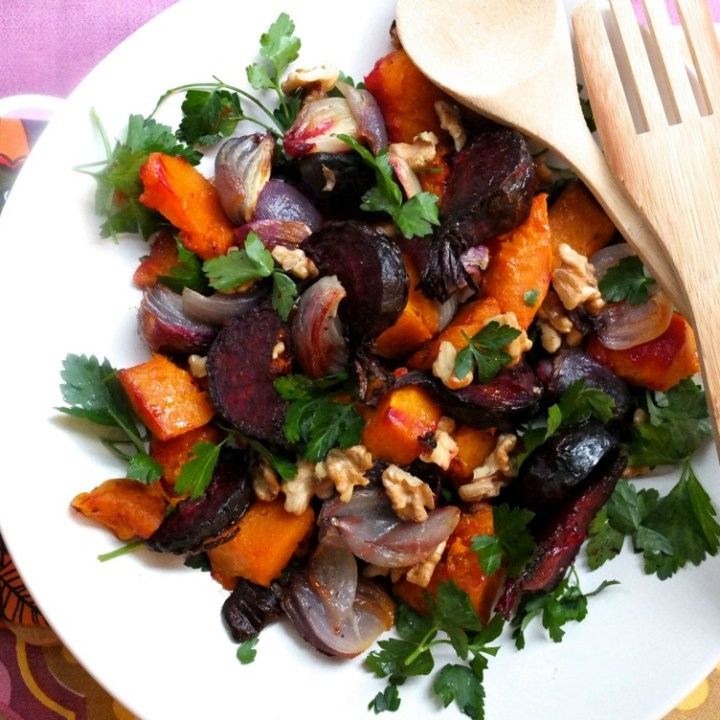 Healthy roasted winter vegetable salad with beetroot and pumpkin
