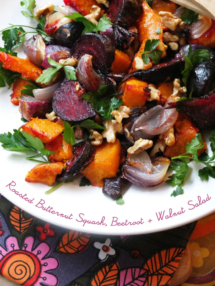 Roasted Butternut Squash, Beetroot & Walnut Salad recipe