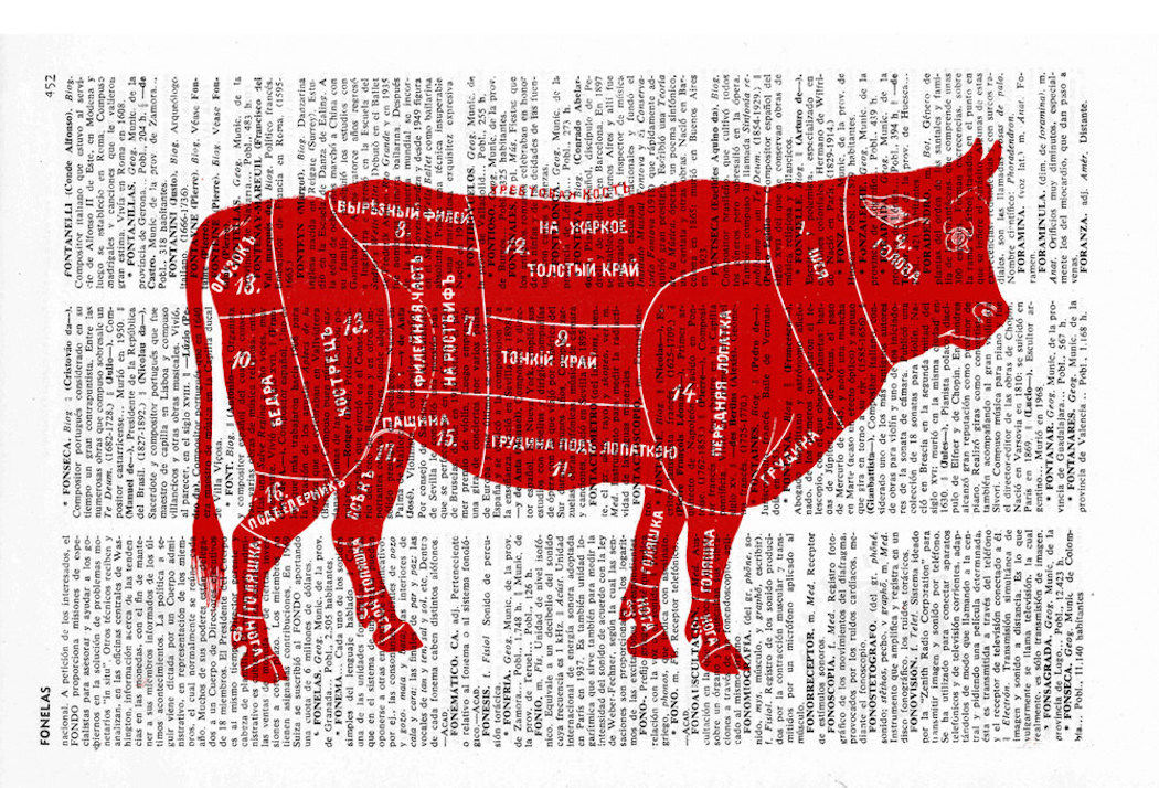 Cuts of Beef Dictionary Book Print by PRRINT on etsy
