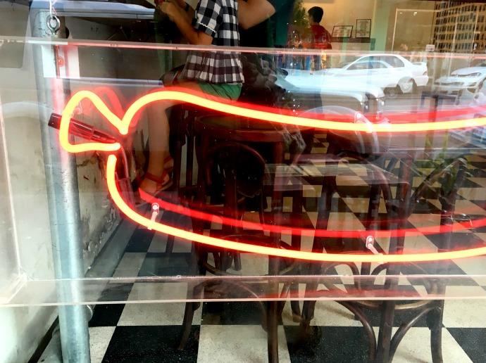 massive wiener hot dogs neon sign
