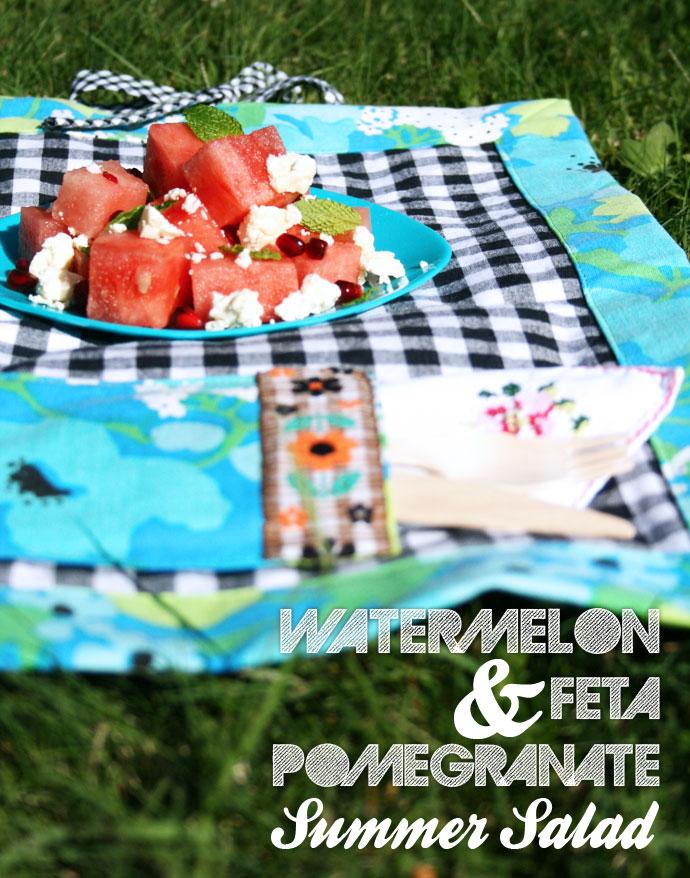 Watermelon Feta and pomergranate salad recipe mypoppet.com.au