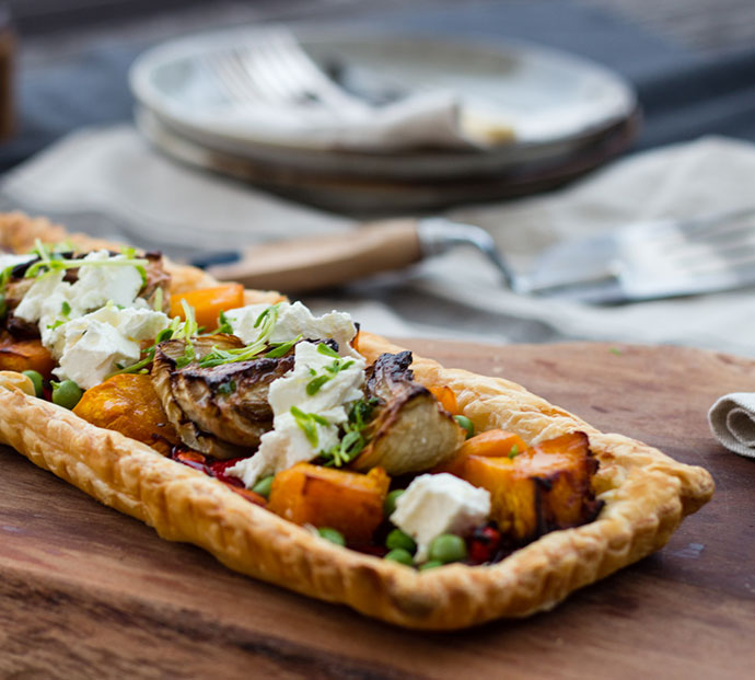 Pumpkin, fennel and feta tart recipe