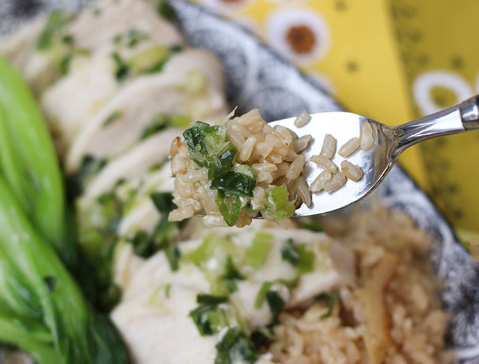 Easy oven baked Singapore Chicken with brown Rice Recipe mypoppet.com.au