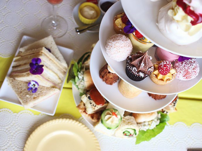 Cake stand with teatime treats Time & Tide Tea rooms - Port Fairy Victoria - High tea review -mypoppet.com.au