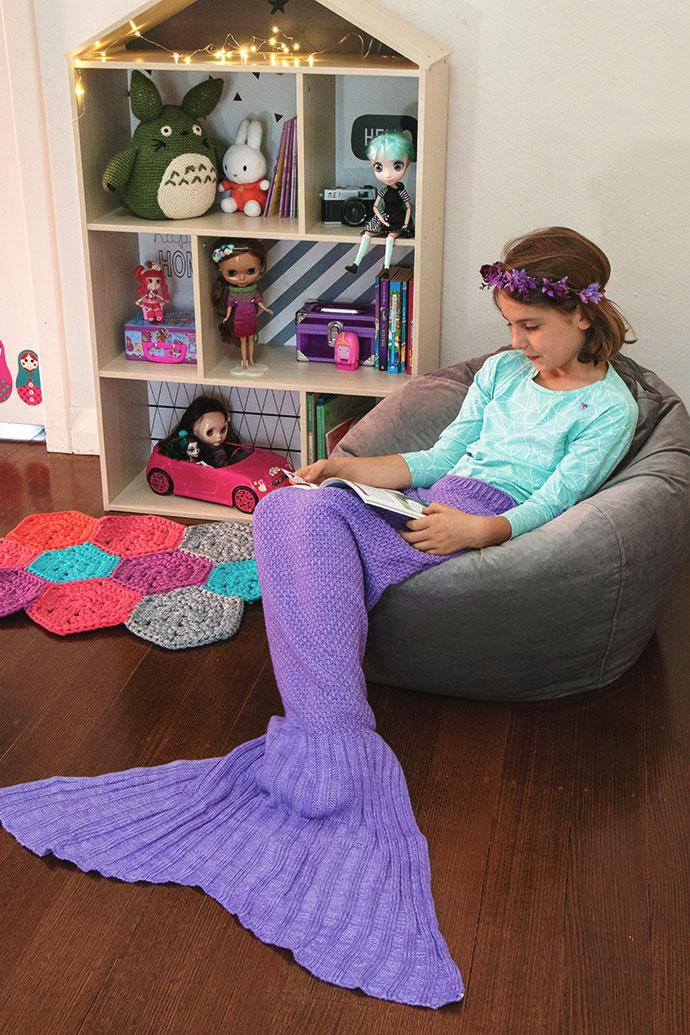Mermaid tail blanket - play corner idea - mypoppet.com.au