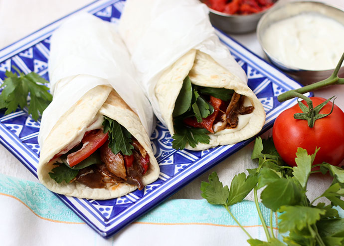 Greek Style Slow Cooked Lamb Wraps, with the best part being all the slow cooking is done for you!