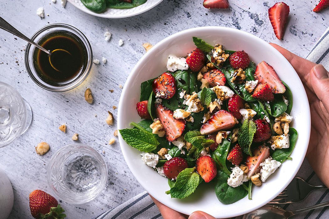 strawberry salad in bowl - Salad dressing recipes