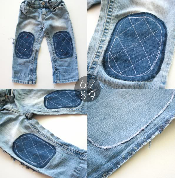 How to sew knee patches to jeans - mypoppet.com.au