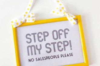 No Hawkers No Doorknocking No Salespeople sign. DIY Frame makeover Do It Yourself