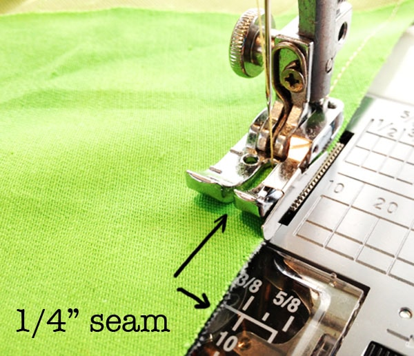 Use a hemming foot with a 1/4 inch seam allowance