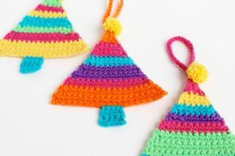 Make crochet striped christmas tree decorations mypoppet.com.au