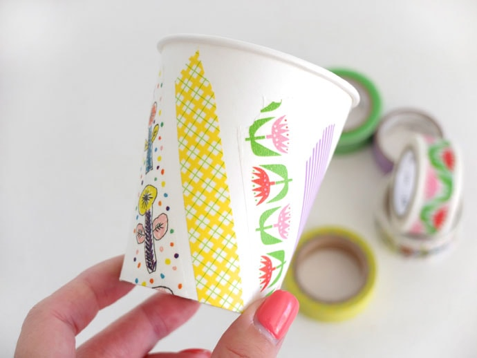 Decorate paper cup with Washi Tape