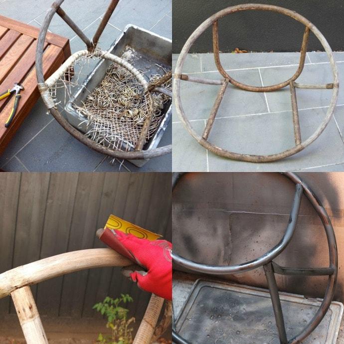 restoring a vintage saucer chair
