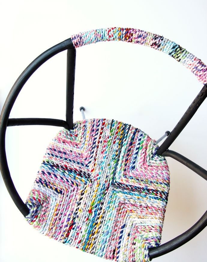 woven chair seat wih upcycle fabric twine