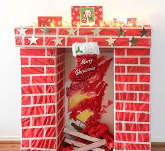 How to make a fake fireplace for Christmas - mypoppet.com.au