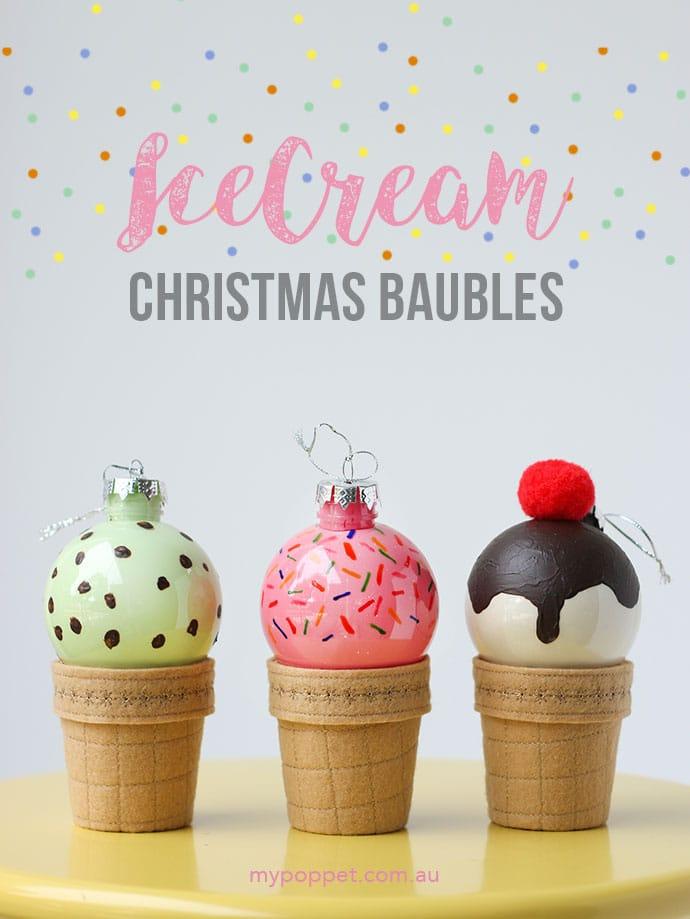 DIY ice cream christmas decorations
