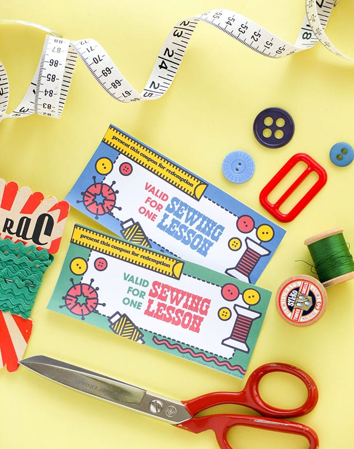 Sewing lesson voucher - gift certificate coupon printable mypoppet.com.au
